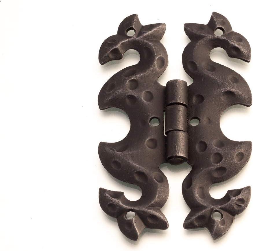 Antikas - bisagra de mariposa de hierro forjado como antiguo - bisagra decorativa para baúles y puertas de amario