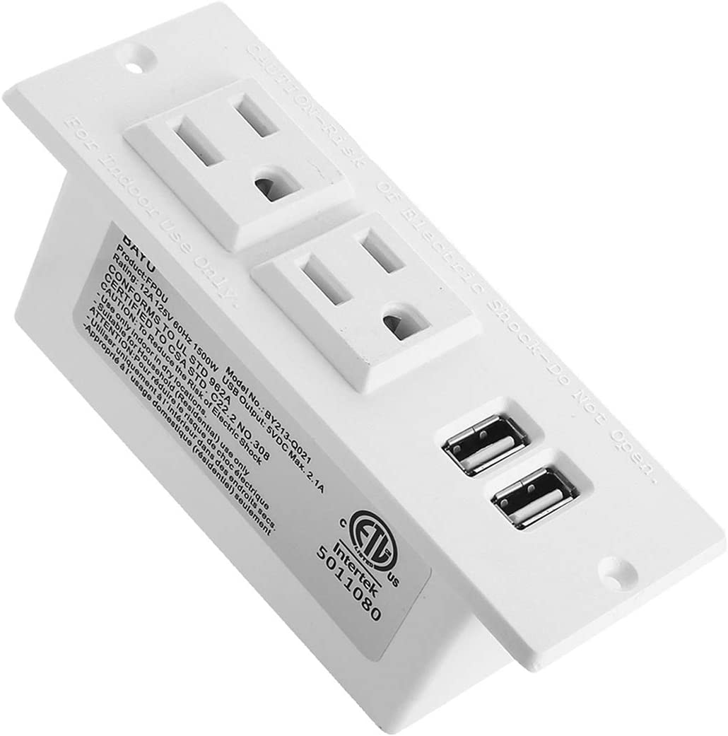 Conference Recessed Power Strip Socket With USB Ports,AC Outlet With Switch Control,Desktop Charging Station with 2-Outlet and 2 USB Ports Maggie