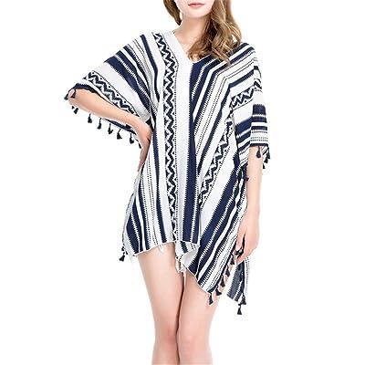 9c73ed24b5db0 Luojida Robe Plage Femme en Mousseline avec Frange-Coupes Asymétriques-  Bikini Cover Up Maillot