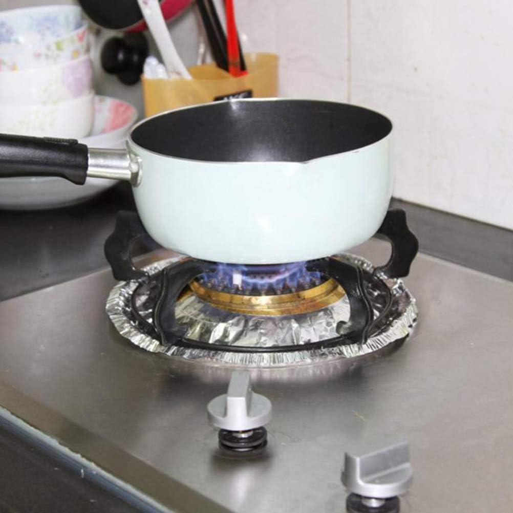BESTonZON El Quemador de la Estufa de 10 Piezas Cubre los revestimientos antiadherentes de los quemadores y los Estufas. Protectores para la Cocina de Gas - Redondos (Plateados): Amazon.es