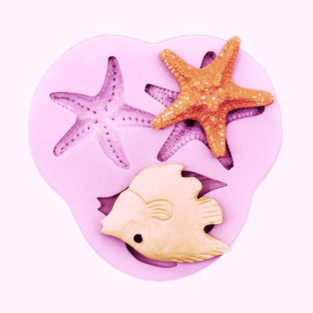 1x Sea Animal Starfish Mould Fondant Icing Silicone Cake Decor Tool Baking Mold
