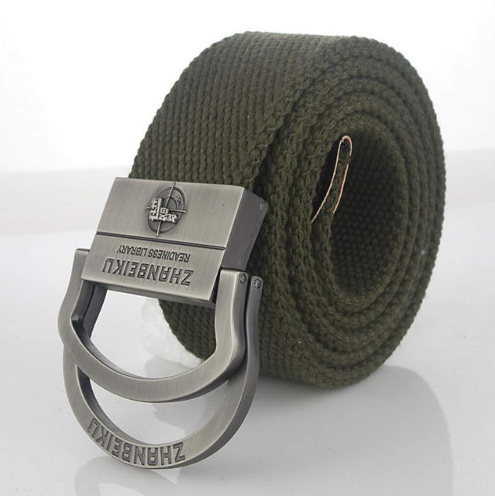 Belt Men's Canvas Belt Tactical Military Belt Pistol Pattern Double Ring Metal Buckle Jeans Belt for Male Men Strap