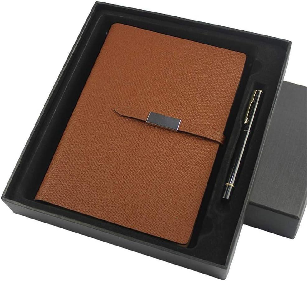 ALXLX A5 レザーノート ルーズリーフスパイラルバインディングページ ペン付き ハードカバーノート ギフトボックス入り 男性にも女性にも最適なギフト ブラウン ALXLX