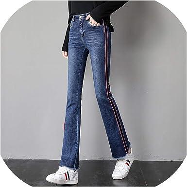 Mesdames poche denim Pleine Longueur Cheville Femme Extensible Côté Fermeture Éclair Jeans Pantalon