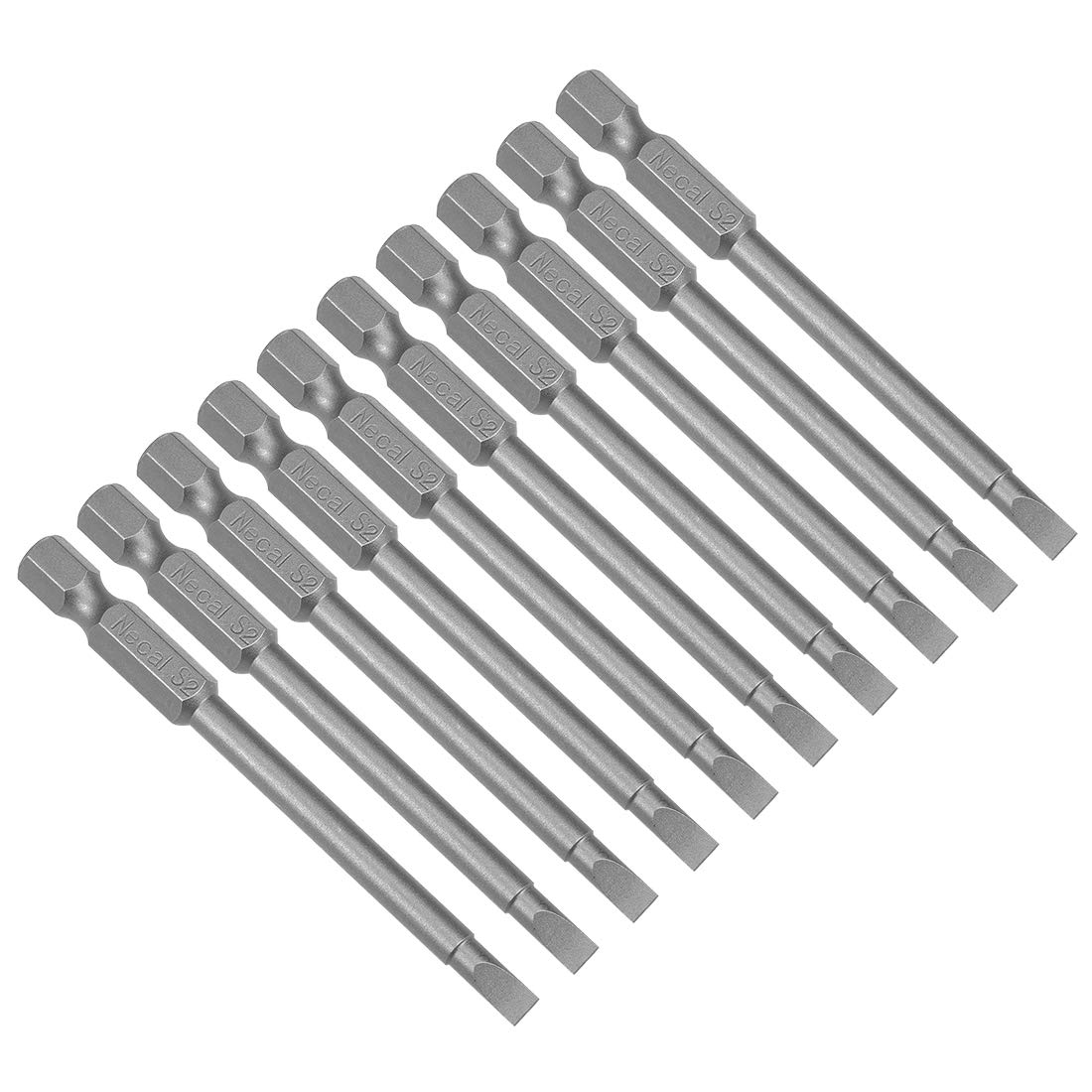 sourcing map 10pcs 50mm 1//4 Hex Shank SL3 Magnetic Slotted Head Screwdriver Bits S2 High Alloy Steel