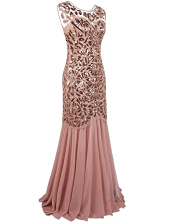 kayamiya Womens 1920s Gown Beaded Sequined Maxi Long Gatsby Mermaid Evening Dress: Amazon.co.uk: Clothing