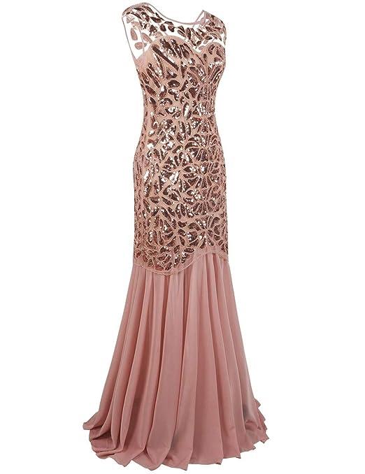 kayamiya Womens 1920s Gown Beaded Sequined Maxi Long Gatsby Mermaid Evening Dress: Amazon.co.uk: Clothing
