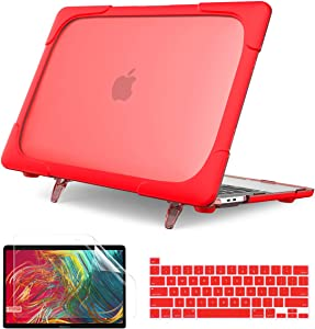 Batainda for MacBook Pro 13 Inch Case A2338 M1 A2289 A2251(2020 Release), Heavy Duty Full Protection Hard Shell Cover Fold Kickstand with Keyboard Skin for New MacBook Pro 13'' Touch Bar,Red