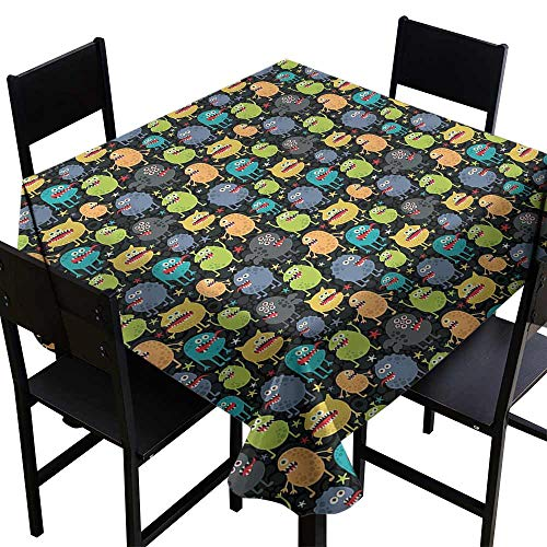longbuyer Dinner Picnic Table Cloth,Cute Funny Characters Cartoon Style Halloween Themed Monsters Abstract Background 36