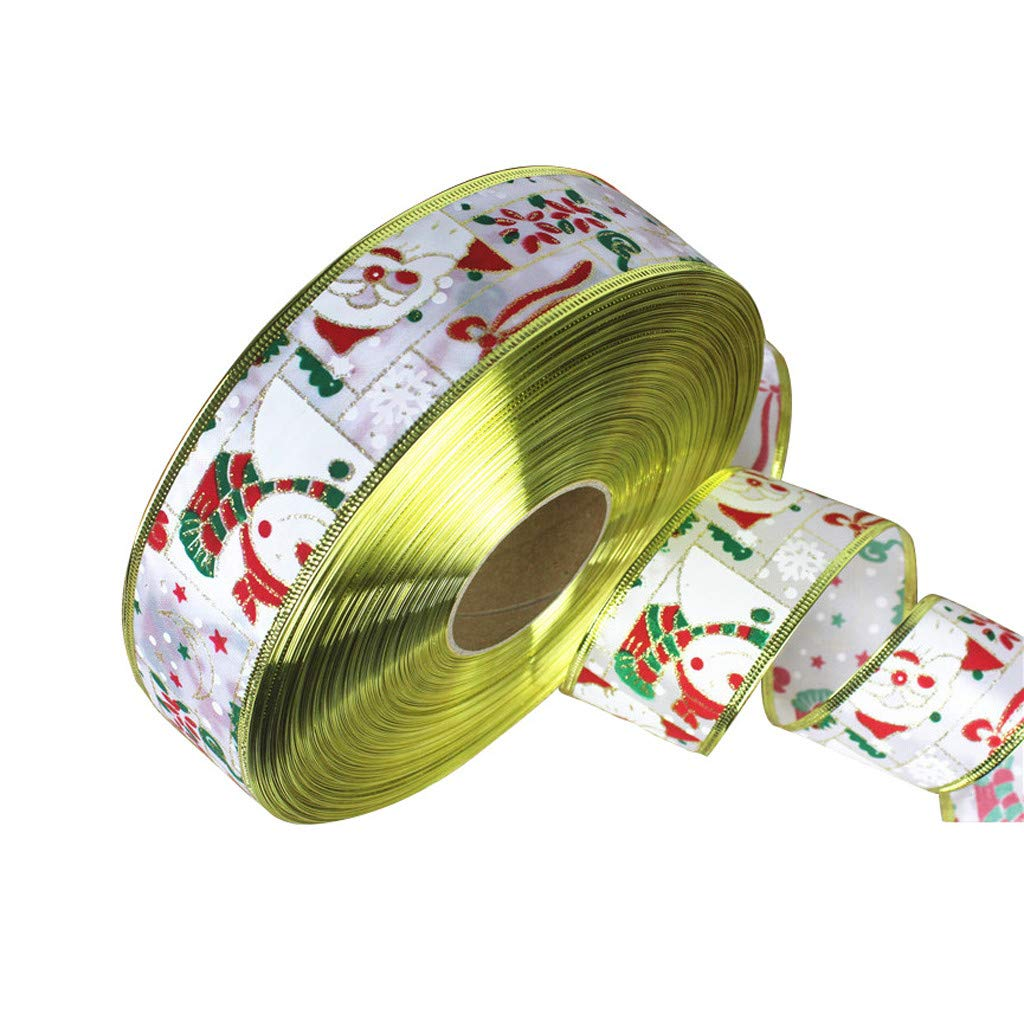 MomeChristmas Gauze  2M Wired Edge Christmas Ribbon Packaging Decoration Craft Gift Present Supplies (White)