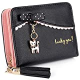 UTO Women PU Leather Wallet Cat Animal Tassel Card Holder Organizer Small Coin Purse Tassel Zipper (Black 1)