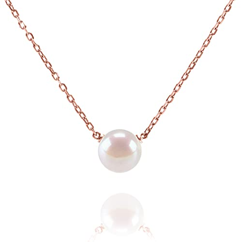 79ce15283 PAVOI Handpicked AAA+ Freshwater Cultured Single Pearl Necklace Pendant |  Rose Gold Necklaces for Women