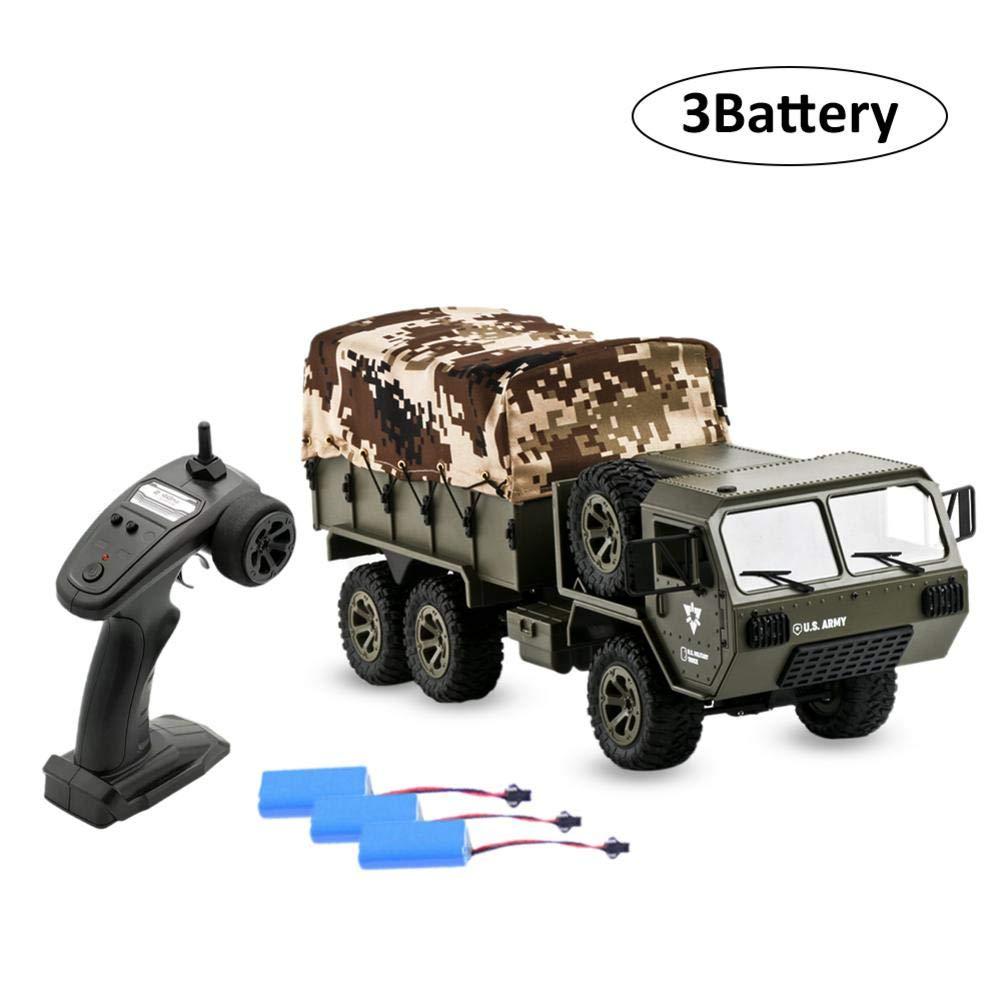 las mejores marcas venden barato Batería de 3 Jannyshop RC Coche Camión 1 16 16 16 2.4G 6WD RC Coche Army Militar RTR Vehículo Crawler con Tienda  mas barato