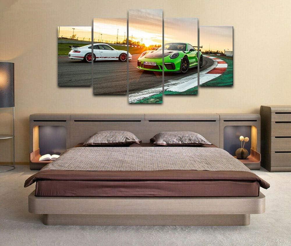 Loveygg Tableau Decoration Murale Impression sur Toile Salon Appartment 5 Parties Pr/êt /À Accrocher Photographie Graphique,Affiche De Voiture De Sport Porsche 911 Gt3 RS,100x55cm