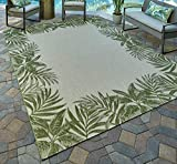 Gertmenian 21559 Nautical Tropical Carpet Outdoor Patio Rug, 5x7 Standard, Green Border Palm