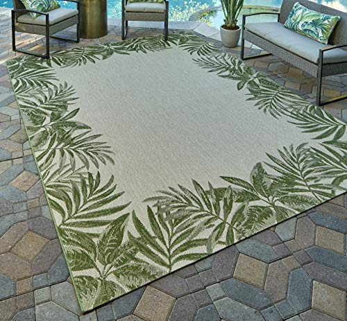 Gertmenian 21559 Nautical Tropical Carpet Outdoor Patio Rug, 5x7 Standard, Green Border Palm