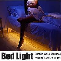 Luz para cama, con sensor de movimiento, tira flexible de LED, Iluminación de luz nocturna con temporizador de apagado automático, luz del armario, luz de la escalera, luz de cuna, 1 Pieza