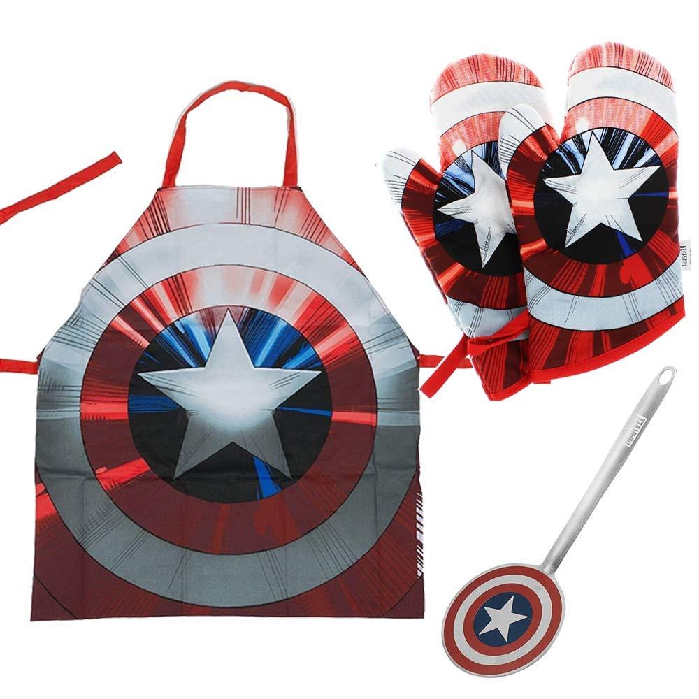 Marvel Captain America Kitchen Essentials Bundle With Apron, Mitt And Spatula