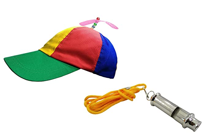 deb2d007c85 Amazon.com  Propeller Beanie Hat and Train Whistle Cap Noisemaker Fun  Costume Accessory Set  Clothing