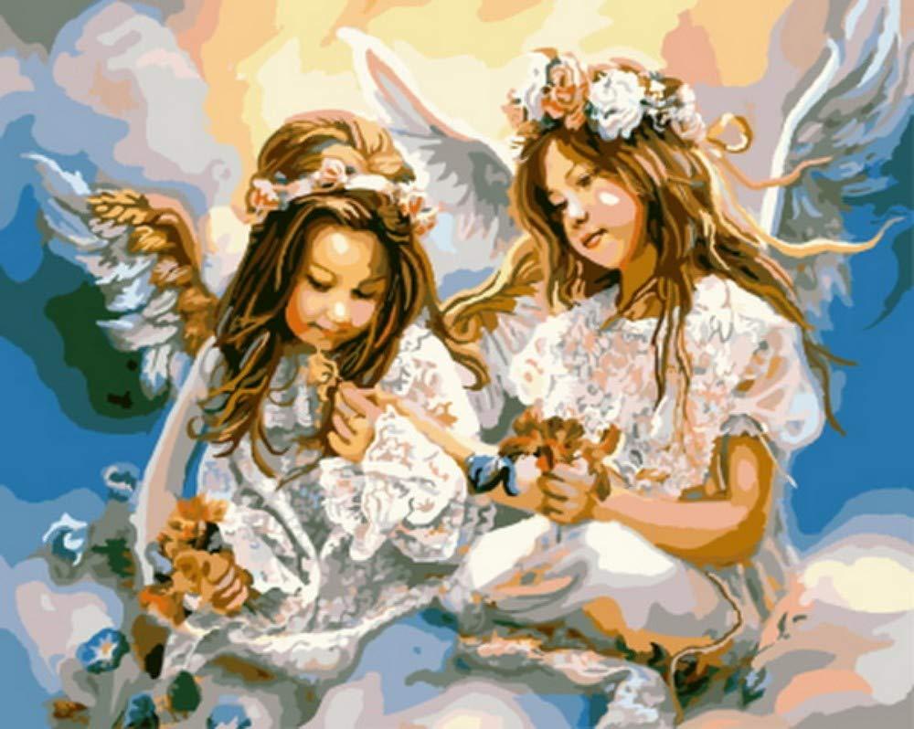 PandaCrafts Pintura al óleo por número Pintura por número para decoración del hogar Lienzo Pintura 40 × 50 cm Olfativa, sin Marco