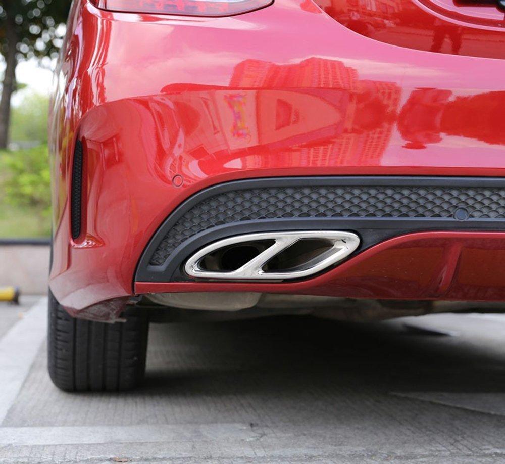 Car-styling Décoration d'extérieur en acier inoxydable Gorge de tuyau d'échappement Queue de sorties Cadre Bordure Coque Stickers pour Classe C W205Coupé 2015–2017, GLC 2016–2017, B W24620152016, E