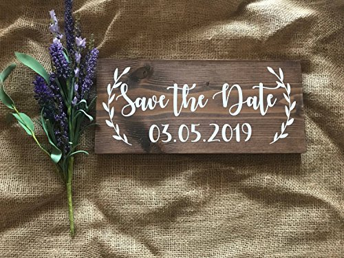 Save The Date Wood Sign Save The Date Wooden Sign Wedding Sign Rustic Save The Date Picture Prop Wooden Sign Engagement Picture Prop ()