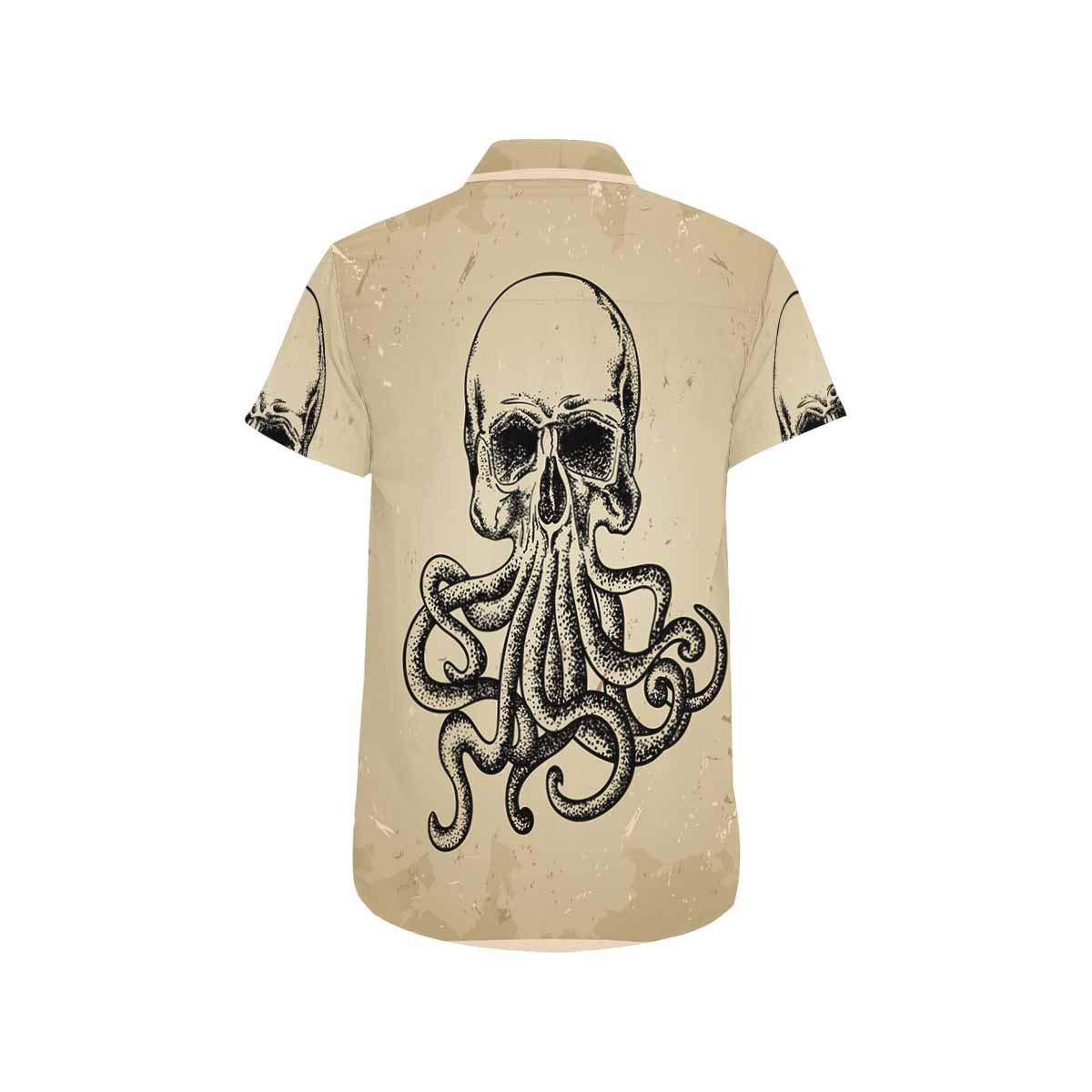 INTERESTPRINT Mens Button Down Skull and Flowers Print Casual Shirt Short Sleeve Shirts