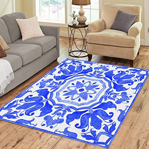 (Pinbeam Area Rug Portuguese Azulejo Tiles Blue and White Gorgeous Patterns Home Decor Floor Rug 3' x 5' Carpet)