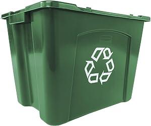 Rubbermaid CommercialFG571473GRN Recycling Bin, 14 gallon, Green (Pack of 6)