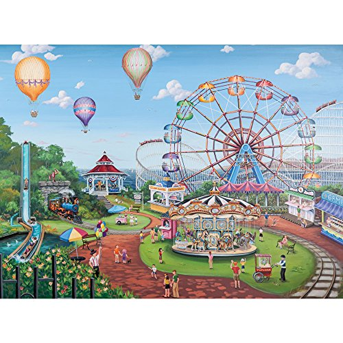 Bits and Pieces - 1000 Piece Jigsaw Puzzle For Adults - Carnival Day, Ferris Wheel at the Fair - by Artist Joelle McIntyre - 1000 pc Jigsaw