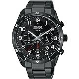 Pulsar Mens 43mm Black IP Steel Bracelet & Case Quartz Analog Watch PT3831