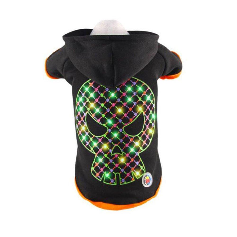 Light up Dog Hoodie Pet Coat Xmas LED Fancy Dog Clothes Winter Cat Sweatshirt (S, Black)