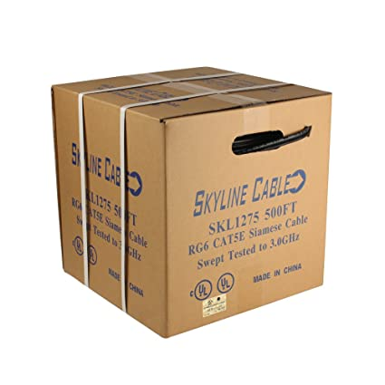 Cat5e Combo Cable Box Wire Voice Data Video SKL1275 Black 500ft Siamese RG6