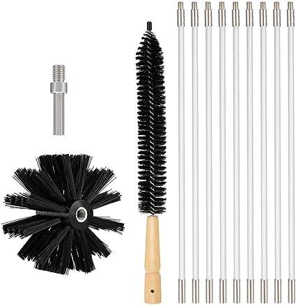 chimenea para chimenea Cepillo para chimenea contiene 9 barras flexibles y 1 cabezal de cepillo cepillo de limpieza de tubo seco