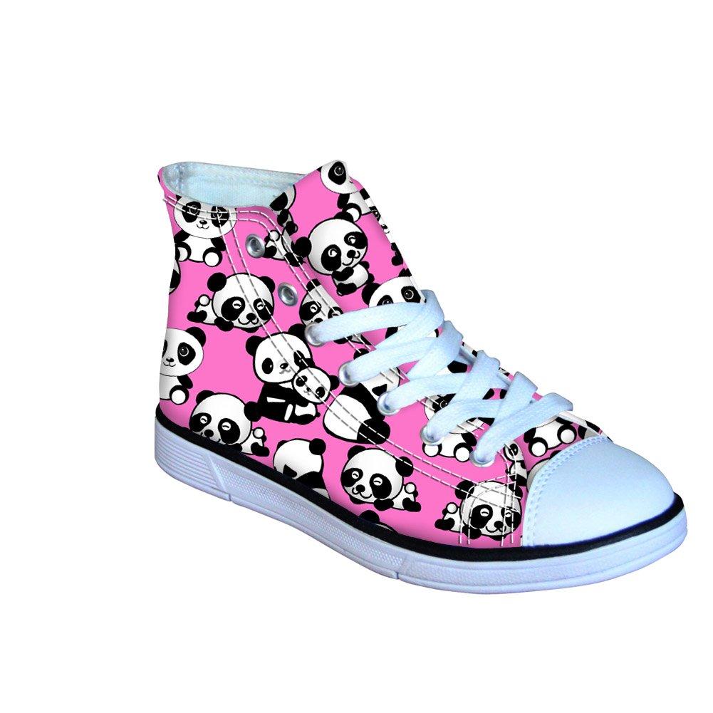 Coloranimal Kawaii Panda Pattern Kids High Top Canvas Shoes(Pink) US3.5