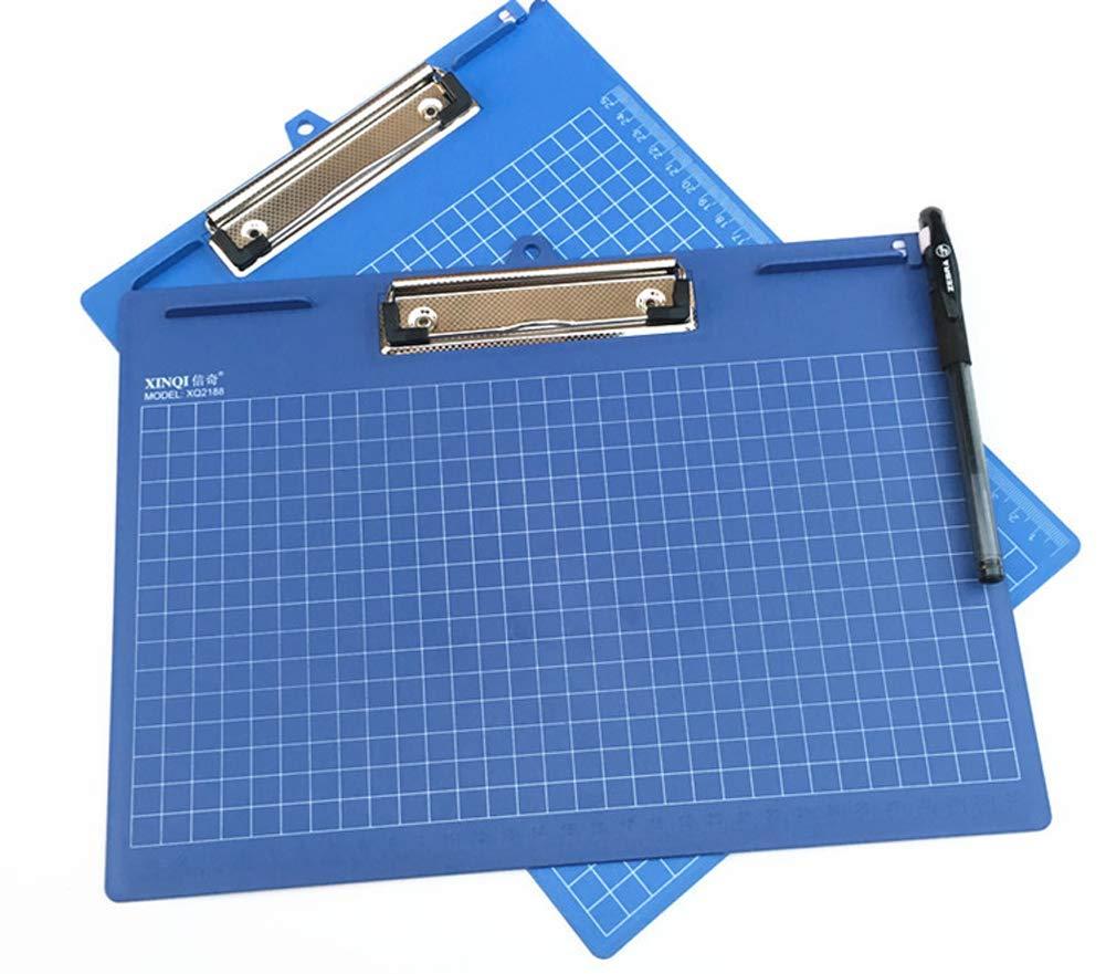 con clip Portablocco orizzontale in plastica 317 x 228 mm 2Pack Blue con foro per appenderlo per scuola e ufficio formato A4