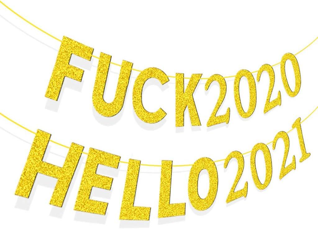 Happy New Year Banner Deko 2021,Weihnachten Dekoration Girlande 2021,Neujahr Glitzer Girlande 2021,Neujahr Girlande 2021 Haosell Silvester Girlande 2021,Frohes Neues Jahr Girlande 2021 Banner Golden