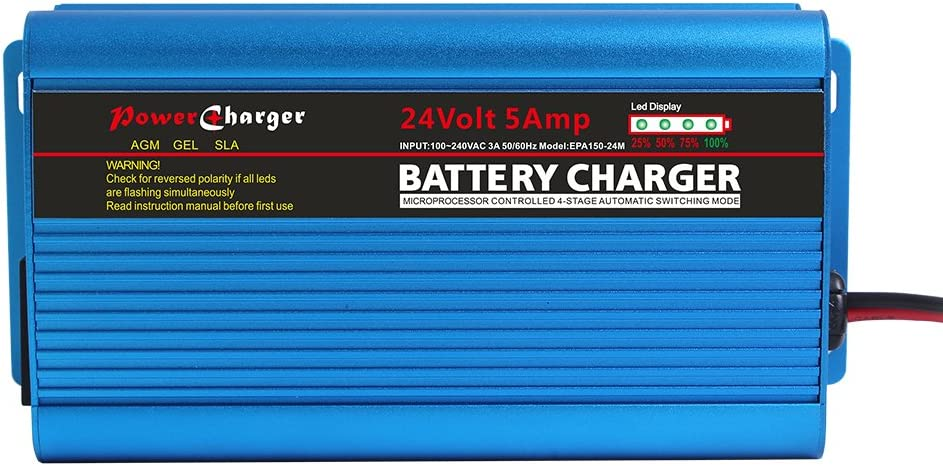 ULTRAPOWER - Cargador de batería automático (24 V, 5 A, conector XLR para motocicleta, automóvil, barco, cortacésped marino, scooter, silla de ruedas, E-Bus E-Forklift