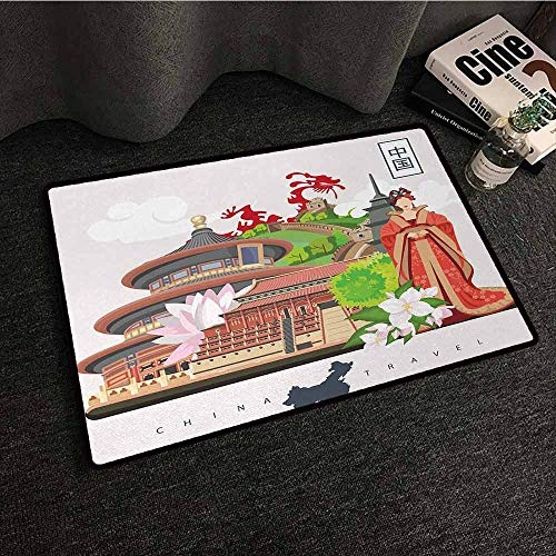 - DILITECK Interior Door mat Ancient China Vintage Style Chinese Attributes of Phoenix Dress Lotus Flower Dragon Palace Quick and Easy to Clean W35 xL47 Multicolor