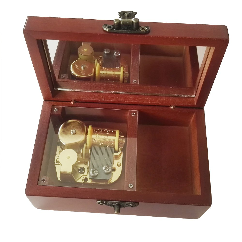 18 Note Antique Lace Wind-Up Wooden Musical Box With Gold-plating Movement,You Are My Sunshine Music Box