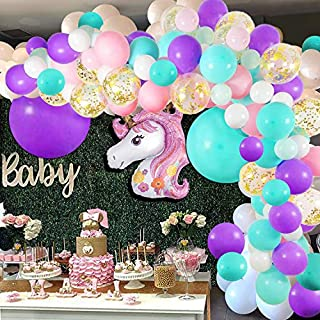 Unicorn Balloon Arch and Garland Kit - 148 Pieces Pink Purple White Mint Green and Gold ConfettI Balloons with Giant Foil Unicorn Balloon for Baby Shower Unicorn Theme Wedding Birthday Party Background Decorations