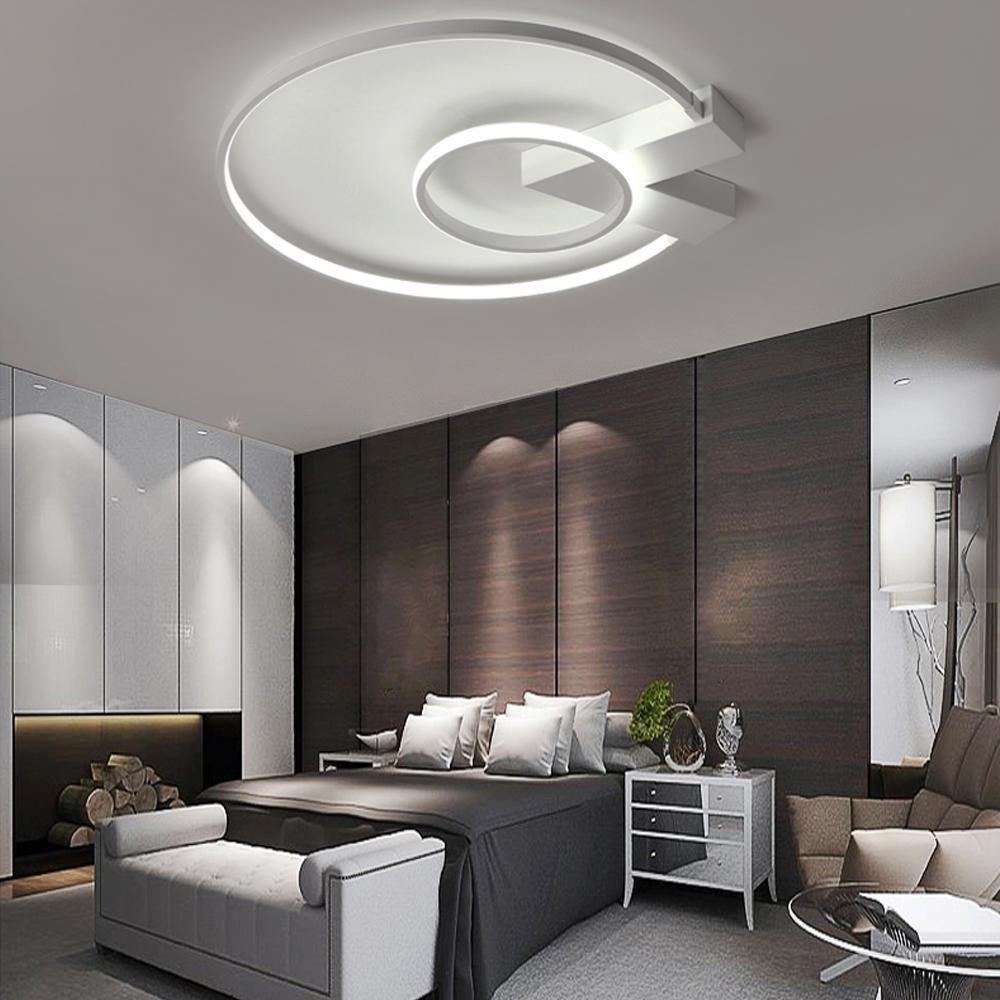 Henley LED-Deckenleuchte Modern 38W Lampen Zwei Ring Deckenbeleuchtung Deckenstrahler Wohnzimmer Schlafzimmer Kreativ Acryl Weiß Deckenlampe für Flur Innenbeleuchtung Design Leuchte , Neutralweiß
