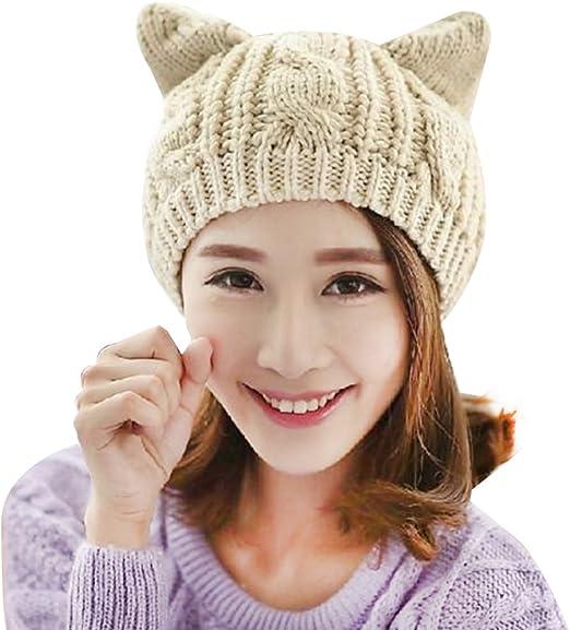 ZeHui - Gorro de lana para mujer, diseño de orejas de gato, beige ...