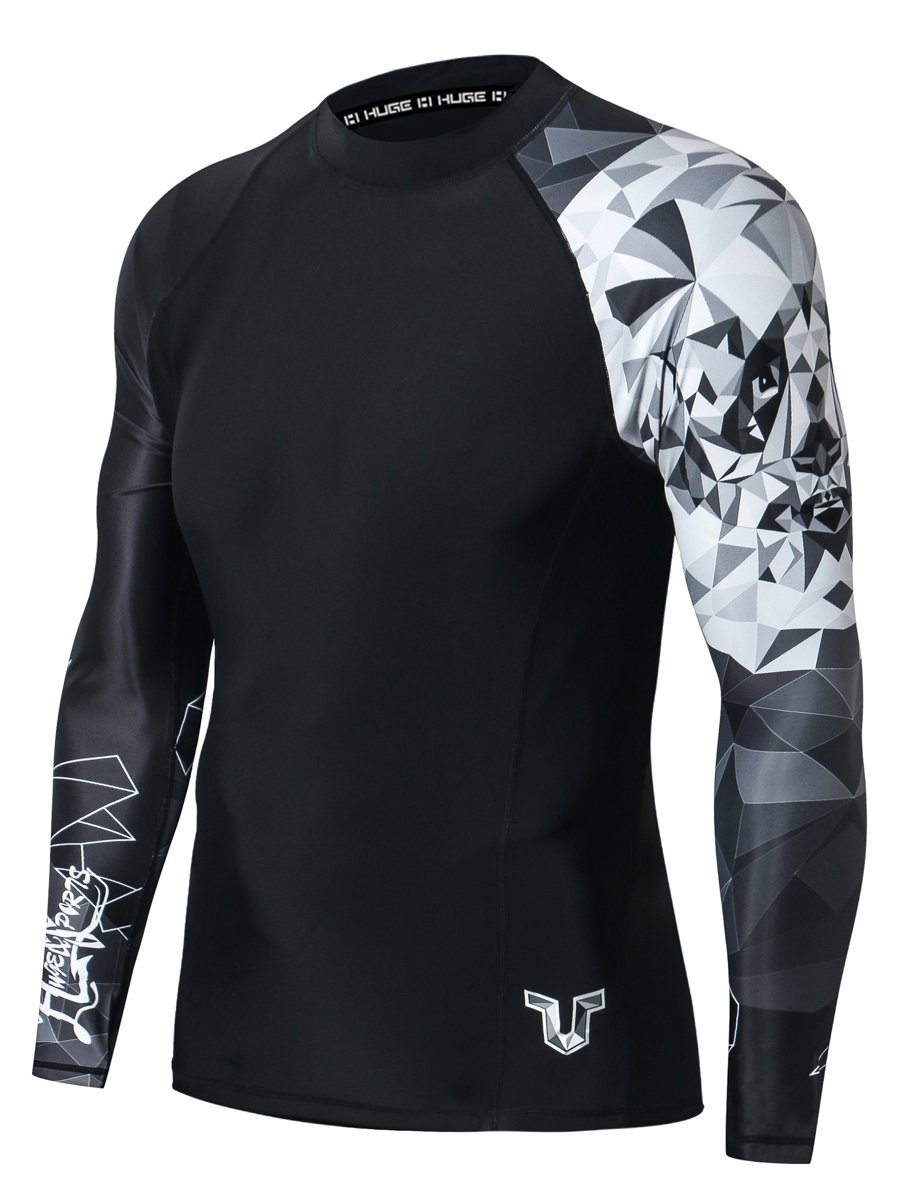 HUGE SPORTS Wildling Series UV Protection Quick Dry Compression Rash Guard (Panda,XL) by HUGE SPORTS