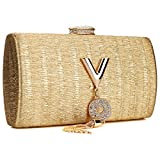 Women Evening Clutch Purse Bag Crossbody Handbags with rhinestone (Gold)