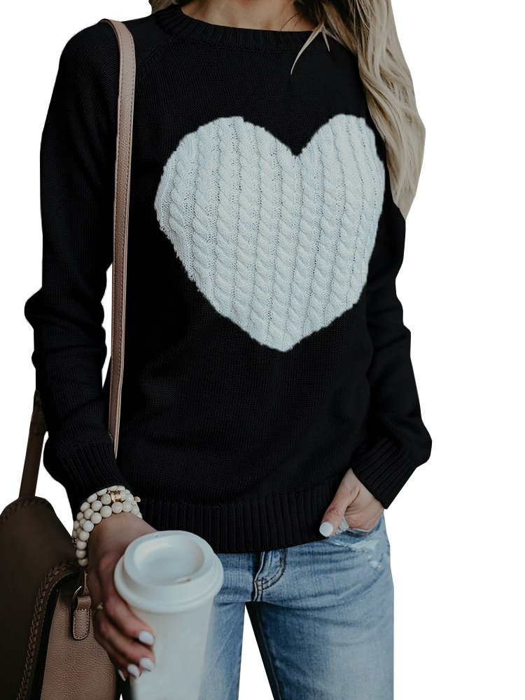 Hestenve Women Long Sleeve Cable Ribbed Knit Sweaters Funny Love Heart Printed Pullover Tops