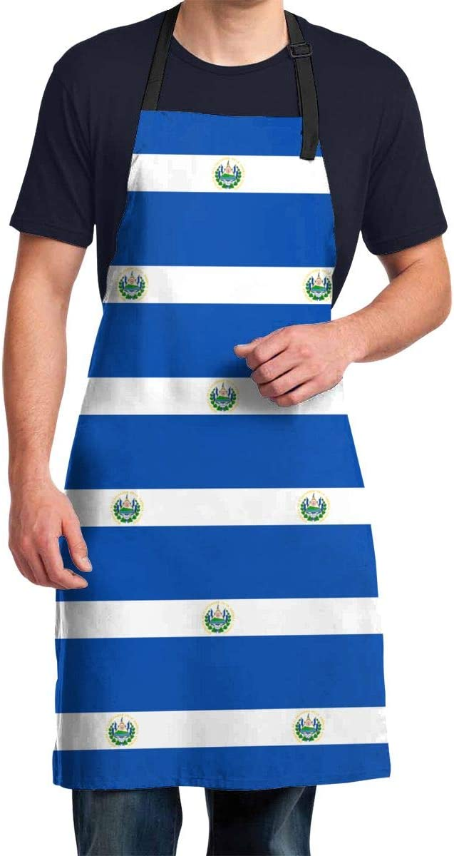 Flag of El Salvador Cooking Apron for Men Women - Waterproof Apron Adjustable Size Kitchen Chef BBQ for Cooking Baking Grilling