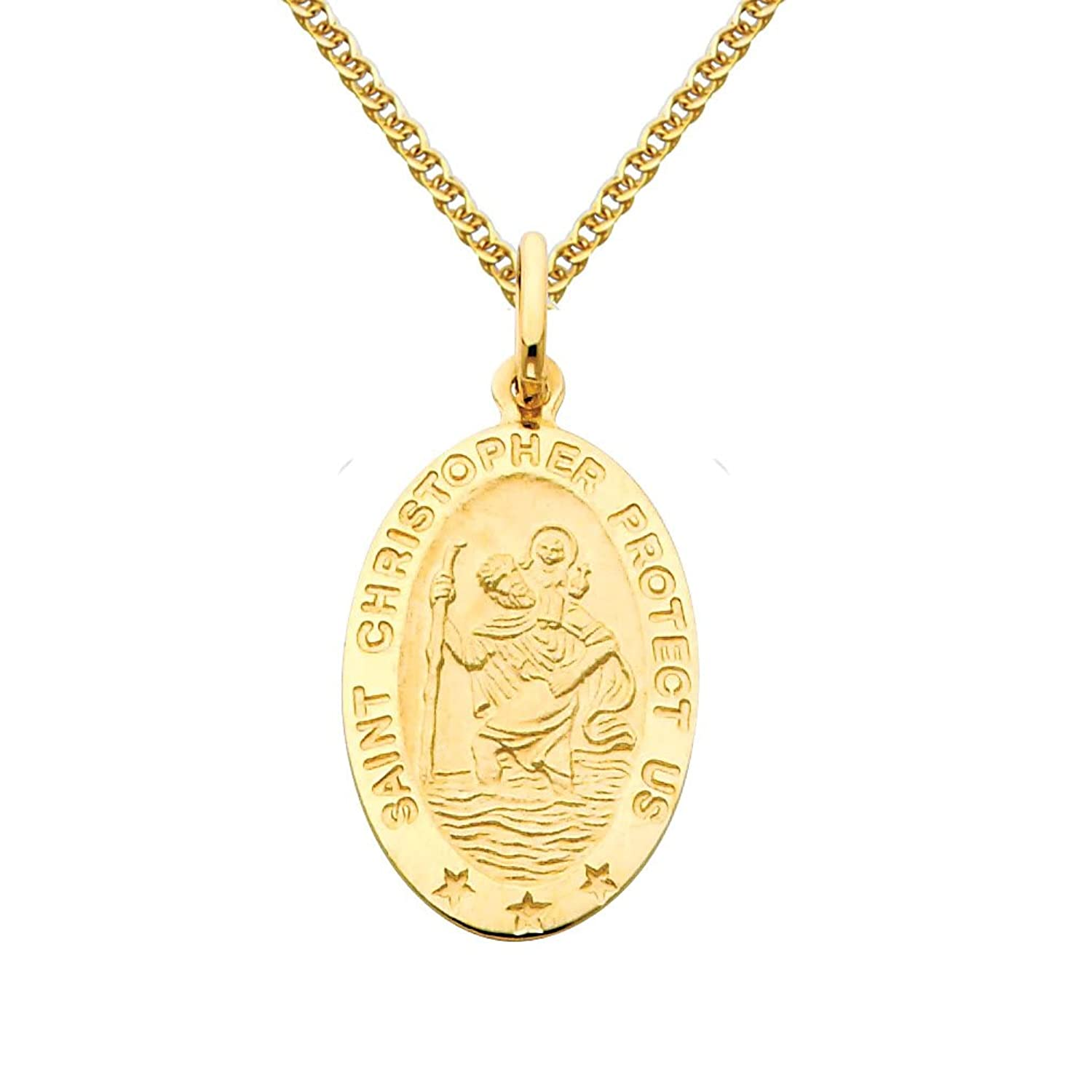14k Yellow Gold Religious Saint Christopher Medal Pendant with 1.5mm Flat Open Wheat Chain Necklace