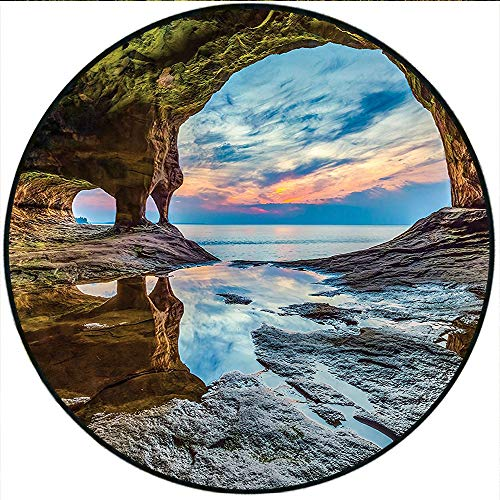 Short Plush Round Carpet Natural Cave Collection Rock Shelter with Lake Magical Up on The Sea Mediterranean Wonders Wet Blue Cream Living Room Computer Chair 35.4