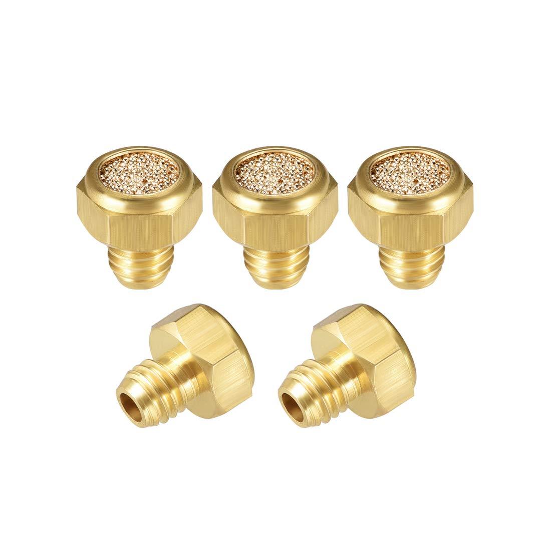 uxcell Sintered Bronze Exhaust Muffler M5 Brass Body Flat Pneumatic Air Muffler Air Flow Speed Controller Brass Flow Control Muffler 5pcs